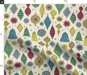 Retro Holiday Starburst Ornaments Mid-Century Spoonflower Fabric by the Yard