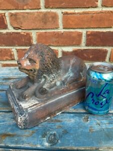 Wonderful Pair 19th Cen. American Sewer Tile Figures, Lions With Snake On Plinth