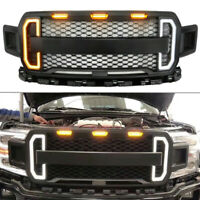 Front Grill Grille Raptor Style for Ford F150 F-150 2018-2019 + Amber LED Light