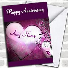 Corazón púrpura Aniversario Tarjeta Personalizada