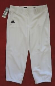 Adidas Womens Softball Baseball Pants Womens Size L White Gray Diamond Queen