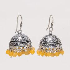 Natural Lemon Onyx Agate Afghani Jhumka Earrings Sterling Silver Enamel Jewelry