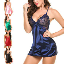 Women Sexy Lace V-neck Lingerie Suit Nightwear Dress Set Braces Sleepwear Dress