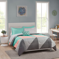 Grey Teal Queen Size Comforter Set 8 Piece Sheets Bed Pillows Shams Bedroom
