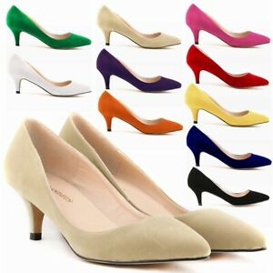 Womens Ladies Low Mid Kitten Heel Work Party Casual Smart Court Shoes Pumps 5-10