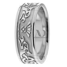 7.5mm Wide Pure 14K White Gold Men's Celtic Design Wedding Band Ring