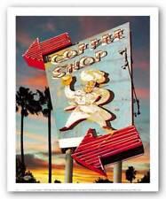 Coffee Shop Larry Grossman Art Print 10x8