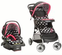 Travel System Baby Girl Lightweight Infant Car Seat Stroller Combo Black NEW