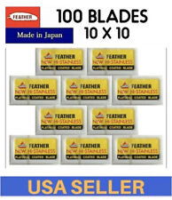 100 Feather Double Edge Razor Safety Blades Original Japan Made