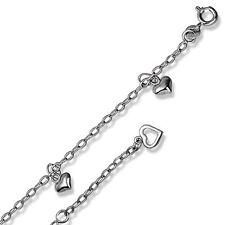 Bezaubernde 925/- Silber Fußkette mit Herz-Behang T1575