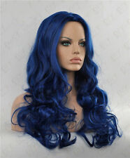 FIXSF627 sexy lady's health long dark blue mix hair wigs for women wavy wig