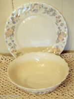 Champetre Arcopal Cereal Bowl & Salad Plate France Floral Swirl Scalloped Coupe