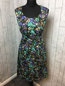 Peperberry Size 12RC Real Curvey Green Floral Dress Sleeveless Women's Pockets