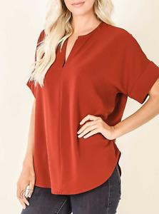 Zenana | Fired Brick Split Neck Short Sleeve Woven Blouse | NWT Size M, L, XL