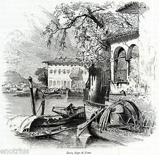 Lecco: veduta pittoresca. Lago di Como. Lario. Stampa Antica + Passepartout.1878