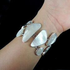 Beautiful MOTHER OF PEARL & Solid 925 Sterling Silver Bracelet, Quality