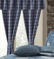 BLUE & GREY PLAID 5pc CURTAIN SET : COUNTRY MONTANA FARMHOUSE WINDOW PANELS