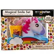 Emojination Smile Set Kids Toothbrush Holder Toothbrush & Rinse Cup Unicorn Gift