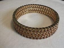 Beautiful Bangle Bracelet Gold Tone Chain Links 2 1/2 x 3/4 Wide UNIQUE