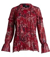 SABA Size 14 Red Patterned Chiffon Top, BLOUSE Frill Detail, Bell Sleeve