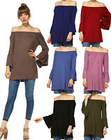 Premium Quality-Off Shoulder Bell Sleeve Long Blouse Tunic Top- Rayon Spandex