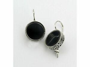 New 925 Sterling Silver Earrings Onyx Black Didae Shablool