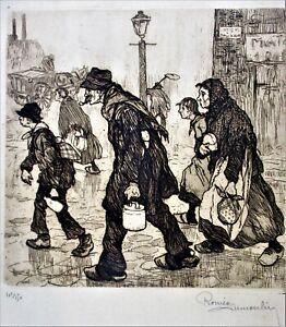 ROMEO DUMOULIN SIGNED CA 1922 SEPIA ENGRAVING STREET SCENE SERIES, 101/150,