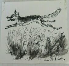 Original vintage Violet Linton pen & ink watercolor miniature drawing