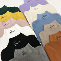 Womens Embroidery Letter Mock Neck Sweater Thermal Shirt Jumper Knit Blouse Tops