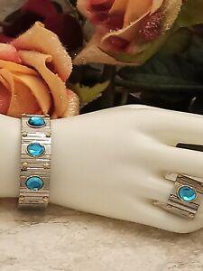 9ct London Blue Topaz Ring & Bracelet Statement Jewelry Gift Silver 19mm Handmde