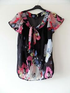 NEXT Short Sleeved Chiffon Top With Bow at the Neck, Size 12