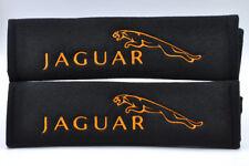 Embroidery Orange on Black Soft Seat Belt Cover Shoulder Pads Pairs For Jaguar
