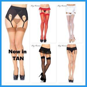 1001 Leg Avenue Sheer Thigh high Regular size stockings Black Nude Red White Tan
