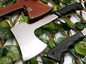 D2 STEEL MEDEVIAL TOMAHAWK VIKING CUSTOM HAND FORGE AXE WOOD GRIP LEATHER SHEATH