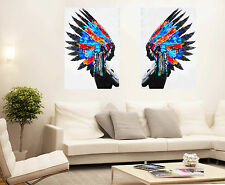 2x Framed Print Native Chief Indian street pop art feather Head Canvas color