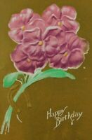 Pink Pansy Horse Shoe Happy Birthday Unposted Divided Back Vintage Postcard