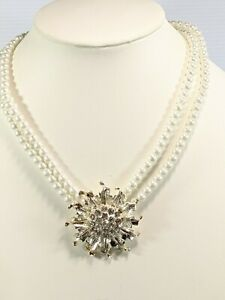 """Artisan Silver Tone White Glass Faux Pearl Round Crystal Medallion Necklace 20"""""""