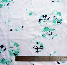 Vintage Navy Green Floral Print Polyester Fabric 2.8 m x 110 cm Material Flowers