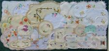 COLLECTION  VINTAGE HAND EMBROIDERED  DOILIES FOR CRAFT OR PATCHWORK x 30