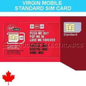 New Virgin Mobile Canada Standard SIM Card 4G/LTE Prepaid Postpaid Canada