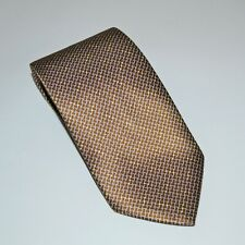 Brioni Men's Handmade 100% Silk Neck Tie Brown Gold Made in Italy