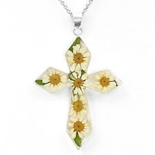 Sterling Silver with Natural Flowers Crucifix Crucifijo Pendant from Taxco