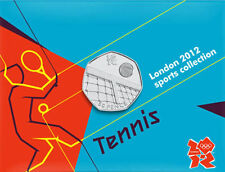 2012 50p OLYMPIC 24/29 TENNIS COIN ON CARD BRILLIANTLY UNCIRCULATED !