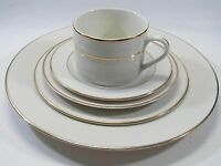 10 Strawberry Street Double Gold Fusion White Porcelain 5 Piece Place Setting