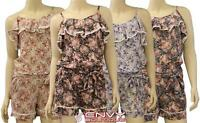 NEW LADIES RUFFLE STRAP FLORAL PRINT PLAYSUIT WOMENS ALL IN ONE JUMPSUIT 8-14