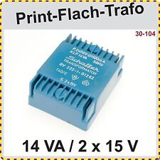 Print Flach Trafo 14VA  2 x 15V  primär 2 x 110 V   sekundär 2x15 V, Printtrafo