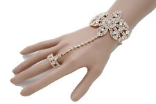 Women Fashion Jewelry Bracelet Gold Metal Hand Chain Bling Flower Slave Ring