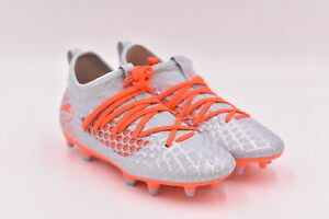Youth Boy's Puma Future 4.3 Netfit Soccer Cleats, Grey / Red, 2