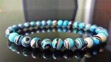 "Blue Banded Turquoise Gemstone Bead Bracelet Men Women (Stretch) 6mm AAA - 7.5"""
