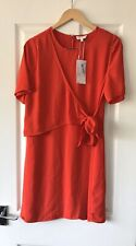 WAREHOUSE RED TIE FRONT DRESS UK 12 NEW